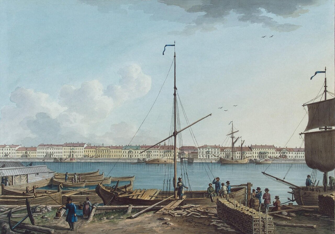 Вид Английской набережной с Васильевского острова