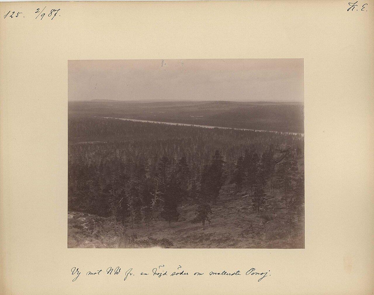 2.9.1887 в 11 ч. 15 мин. Вид с южной стороны холма к северо-западу от монастыря на реке Поной