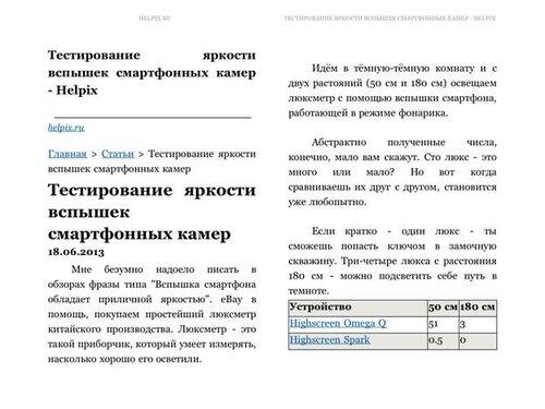 Страничка Helpix.ru в Kindle