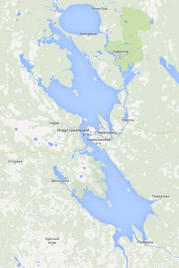 увеличенное в два раза Рыбинское водохранилище на Google Картах