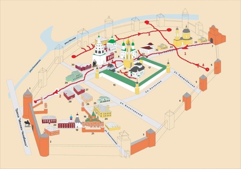 Схема кремля и маршрут 4й