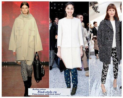 пальто прямого силуэта, пальто прямого покроя, как выбрать пальто, модные пальто на осень, с чем носить пальто, фото, что будет модно осень-зима 2013-2014, как носить леггинсы, леггинсы с принтом,