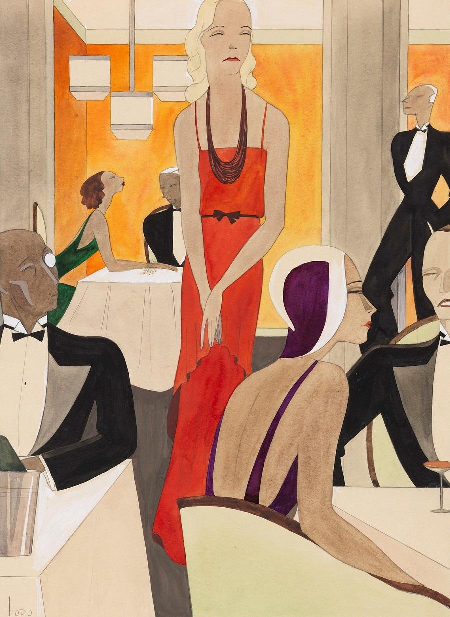 1928 Красное вечернее платье для журнала мод (Das rote Abendkleid (Mode-Illustration fur Modenspiegel)