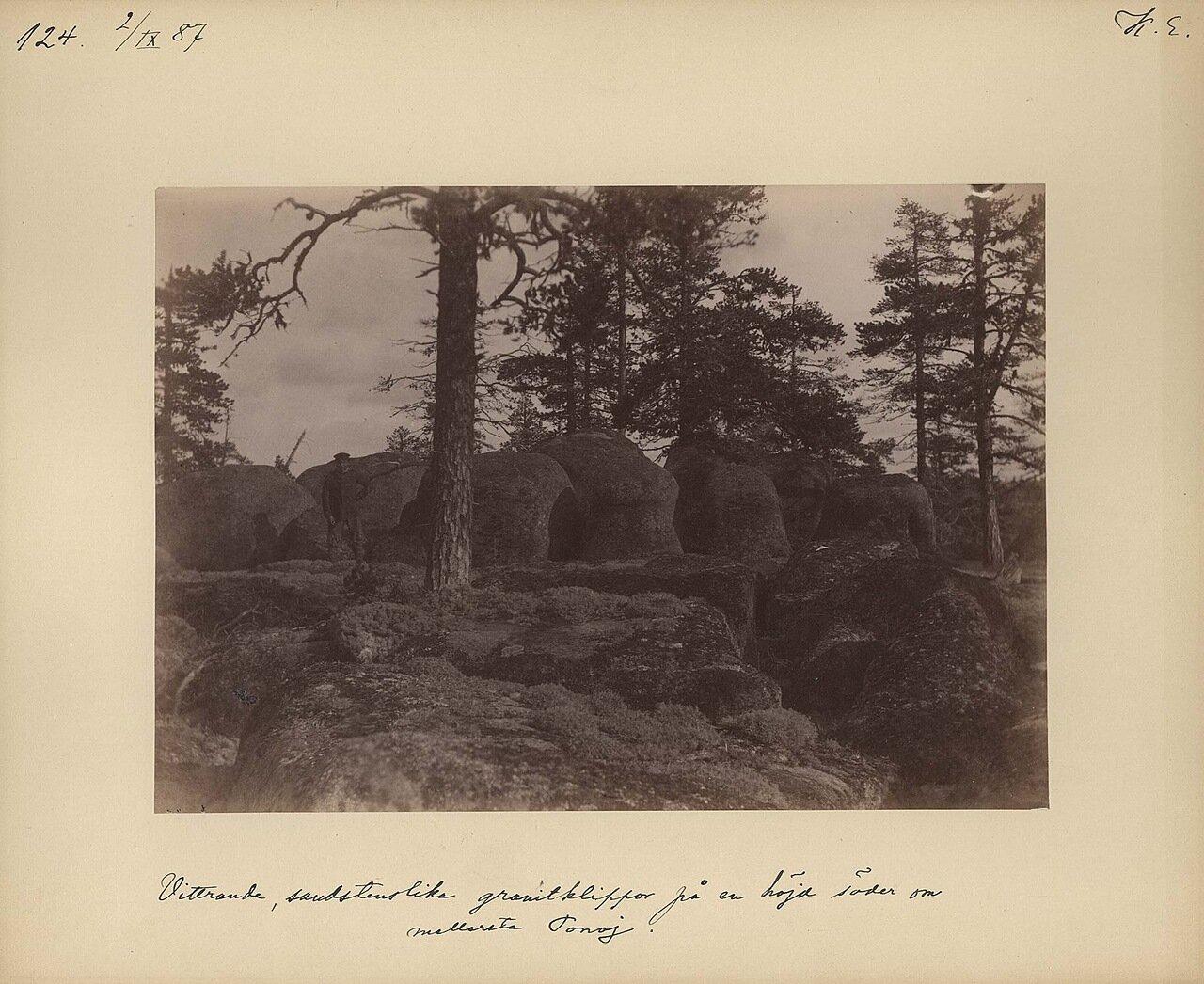 2.9.1887. Выветривание песчанника на реке Поной, гранитные скалы на холме на южной стороне