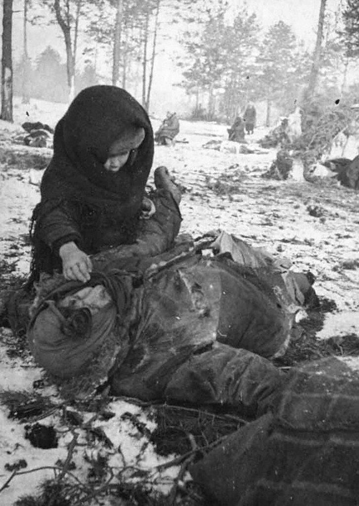 Концлагерь для гражданского населения «Озаричи».  Март 1944 г. Белорусская ССР.