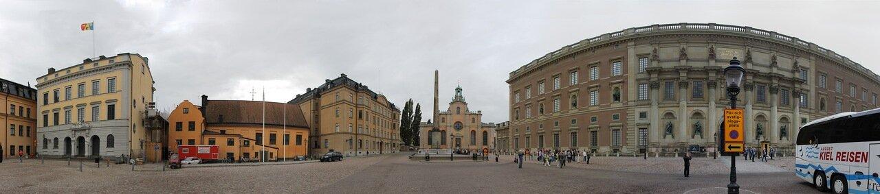 Стокгольм, Дворцовый холм, королевский дворец. Stockholm, Slottsbacken, Royal Palace, panorama