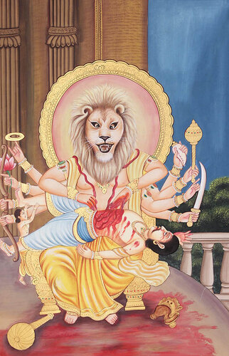 lord narasimha killing the demon hiranyakashipu