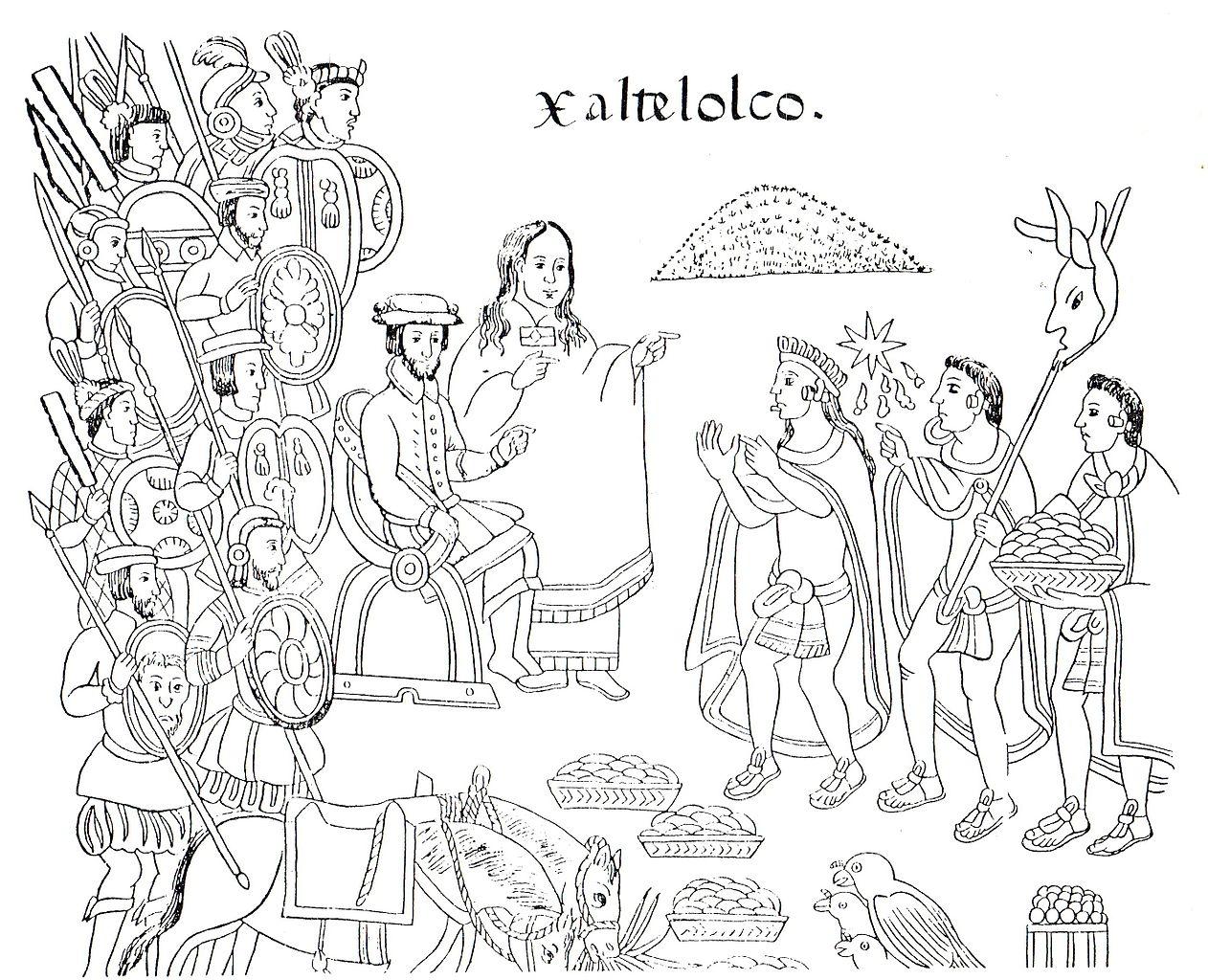Кортес и Малинче в городе Шалтелолько. Тласкаланское изображение XVI века.jpg