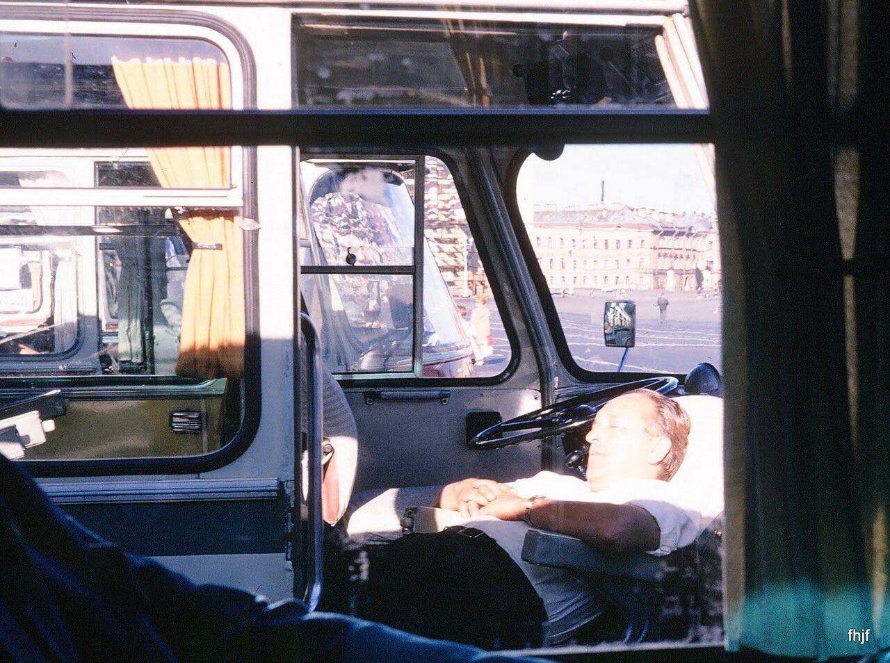 Bus driver asleep