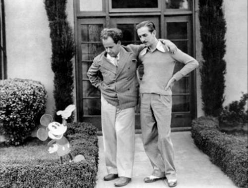 Soviet avant-garde filmmaker Sergei Eisenstein poses with pioneering American animator Walt Disney  1930