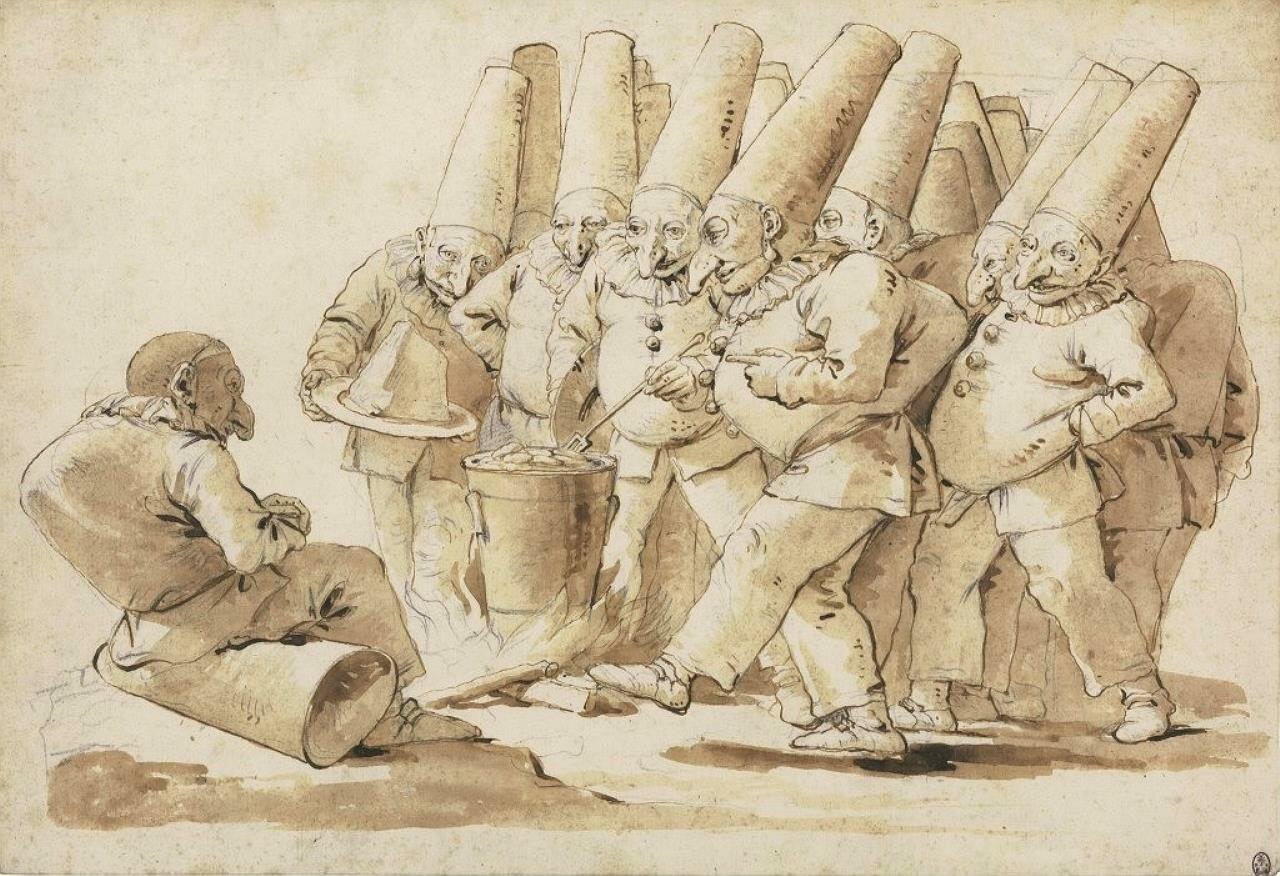 Пульчинеллы, готовящие клёцки с пармезаном. (год неизвестен) Джованни Баттиста Тьеполо(1696-1770), стиль рококо