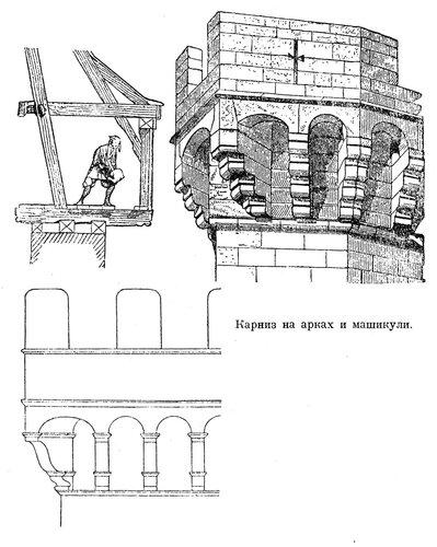 Карниз на арках и машикулях, общий вид и чертеж