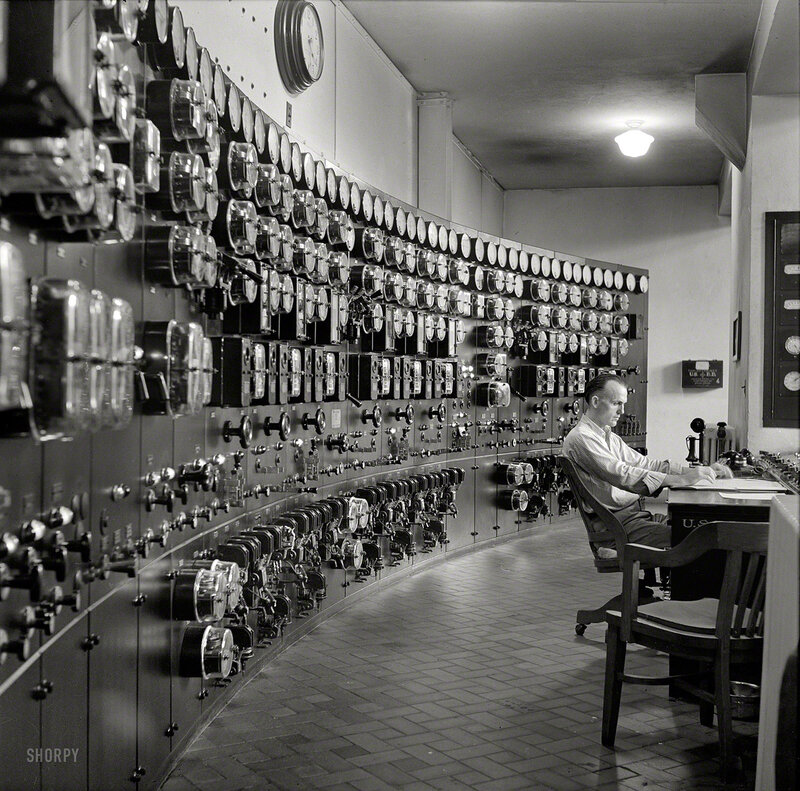 September 1940. Control room, waterworks. Conduit Road, Washington, D.C.