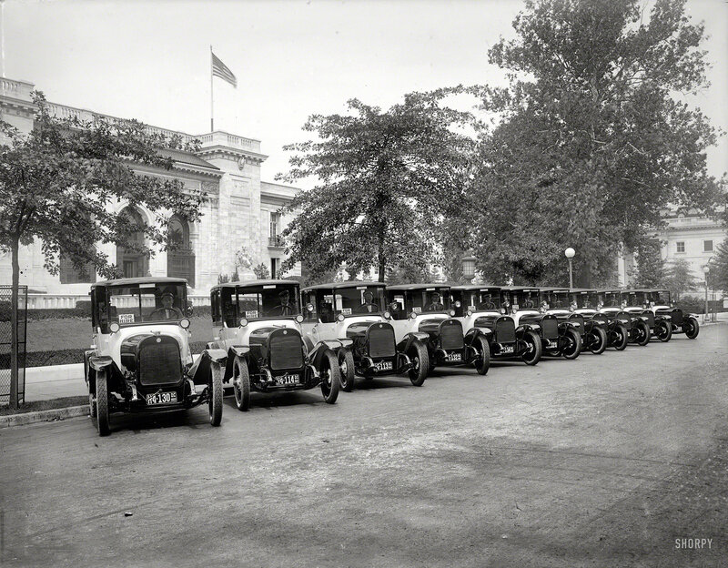 Washington, D.C., 1922. Black & White taxis at Pan American Union