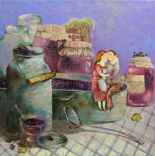 Сладкий поцелуй. Картина Анны Силивончик.