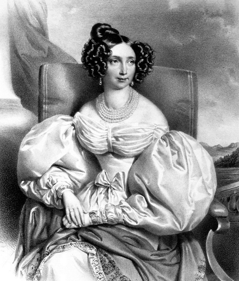 Erzherzogin Sophie von Österreich; Lithographie von Joseph Kriehuber, 1836