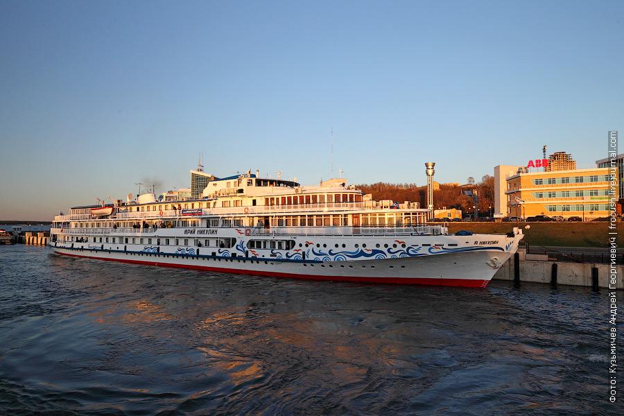 2 мая 2013 года 20:09. Отходим от Чебоксар. Теплоход «Юрий Никулин» в речном порту Чебоксар