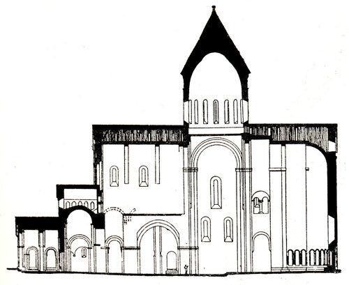 Собор Свети-Цховели в Мцхете, продольный разрез