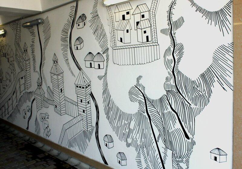 Карта древнего Киева на стене перехода