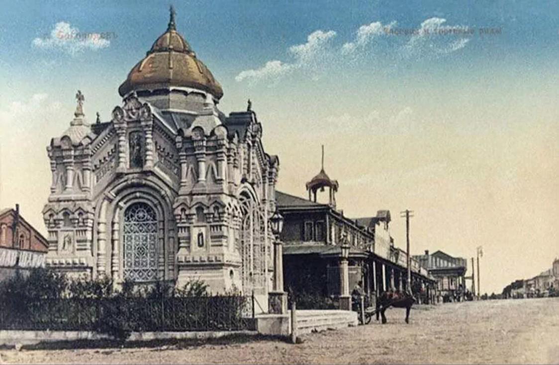 Часовня Александра Невского и торговые ряды
