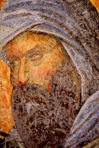 Святой Преподобный Косма, Епископ Маиумский, творец канонов. Фреска церкви монастыря Хора в Константинополе. 1315 - 1321 годы.