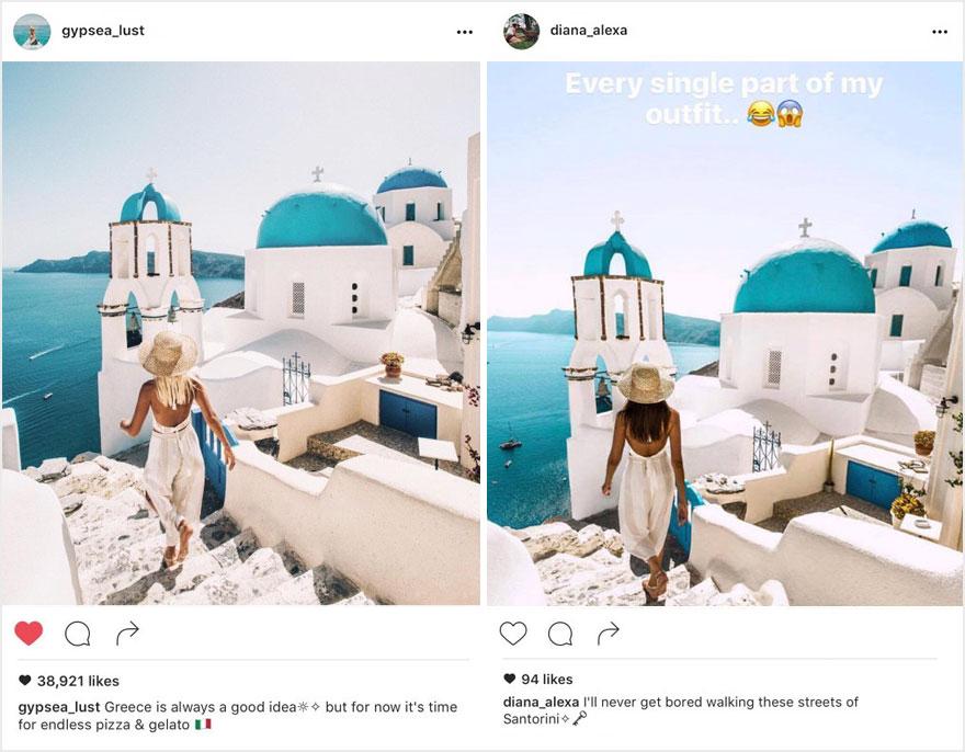 Пара обнаружила, что кто-то в точности копирует их снимки из поездок в Instagram (16 фото)