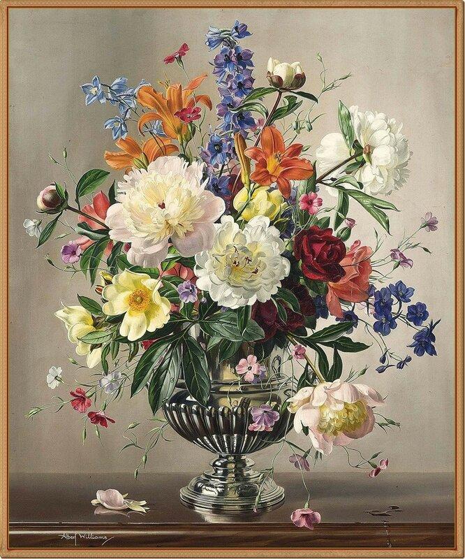 48 Летние цветы в серебряной вазе с отражением художника на вазе. Albert Williams (1922-2010).jpg
