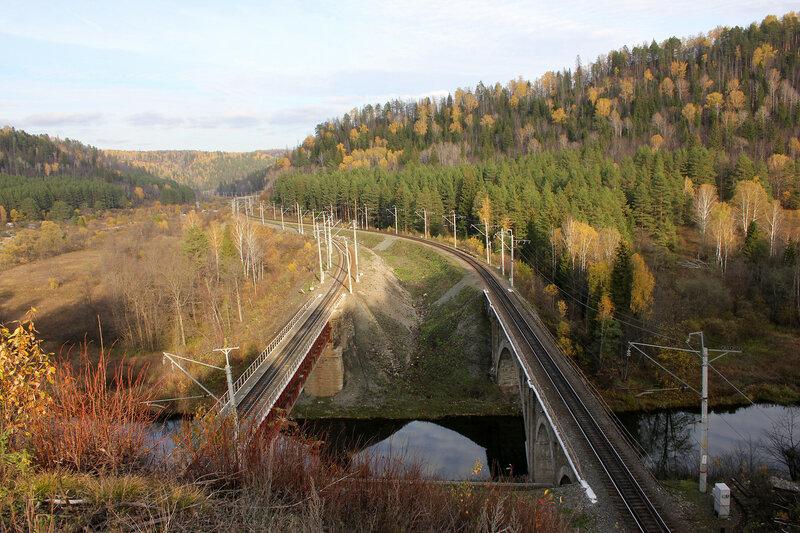 Уральские горы и мост через реку Сим, перегон Биянка - Симская