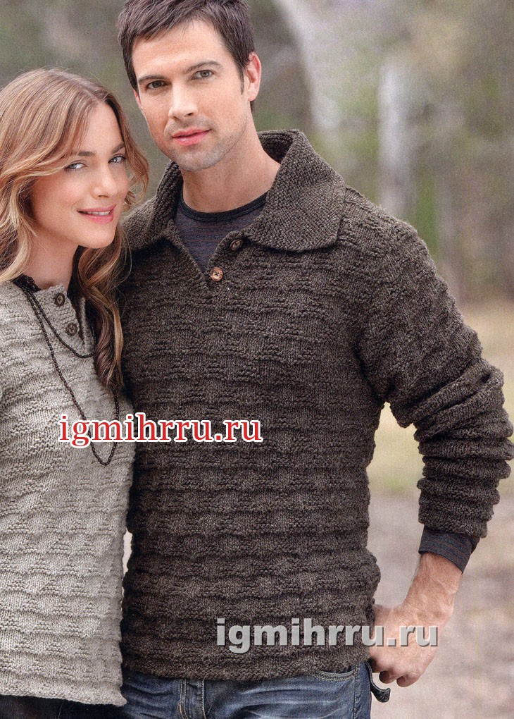Мужской коричневый пуловер с застежкой поло. Вязание спицами