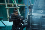 Danusia Samal plays Ladriya and Chin Han plays Togusa in Ghost in the Shell from Paramount Pictures and DreamWorks Pictures.