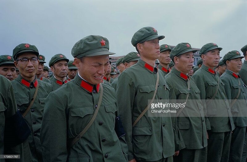 army officers and soldiers mourn during the memorial meeting for Chairman Mao Zedong held at Tiananmen Square on Sept 18, 1976 in Beijing.jpg