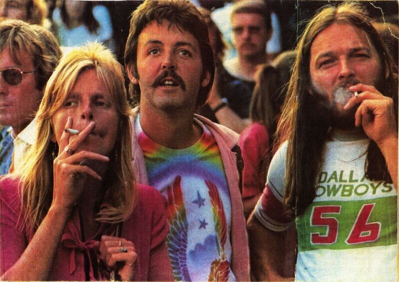 Linda & Paul McCartney with David Gilmour at a Led Zepplin concert. Summer 1976..jpg