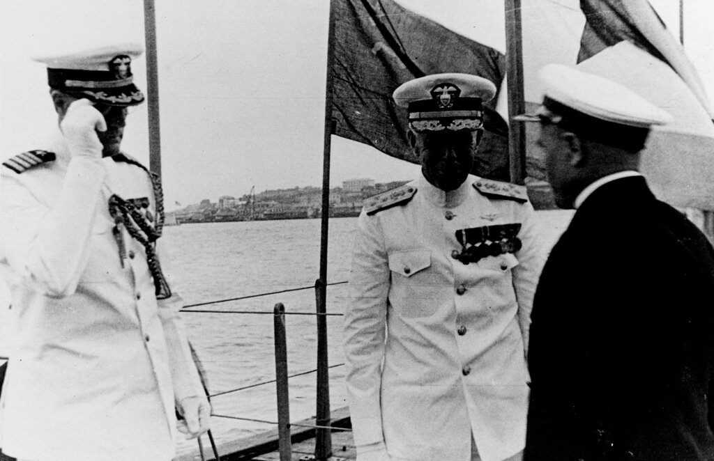 Admiral Harry E. Yarnell, USN. As CINCAF at Vladivostok, USSR, in July 1937. With Yarnell are Captain R. F. McConnell, USN, his chief-of-staff (L), and an unidentified Russian naval officer. Beyond McConnell in the background is the stern of the USS AUGUSTA (CA-31).