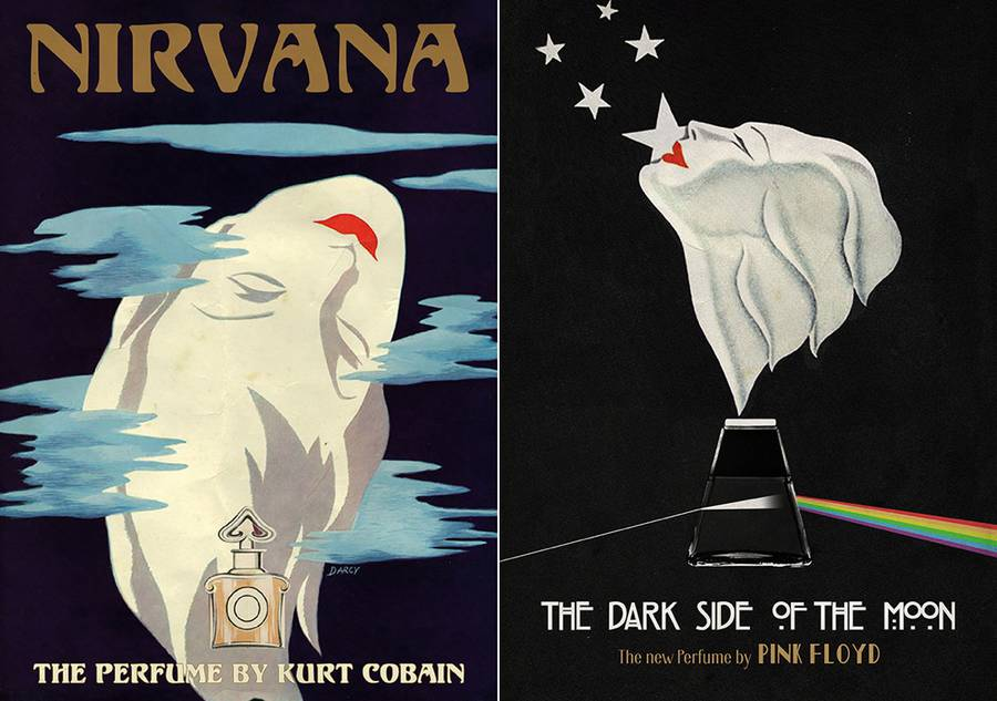 Famous Albums Revisited as Vintage Perfumes Ads