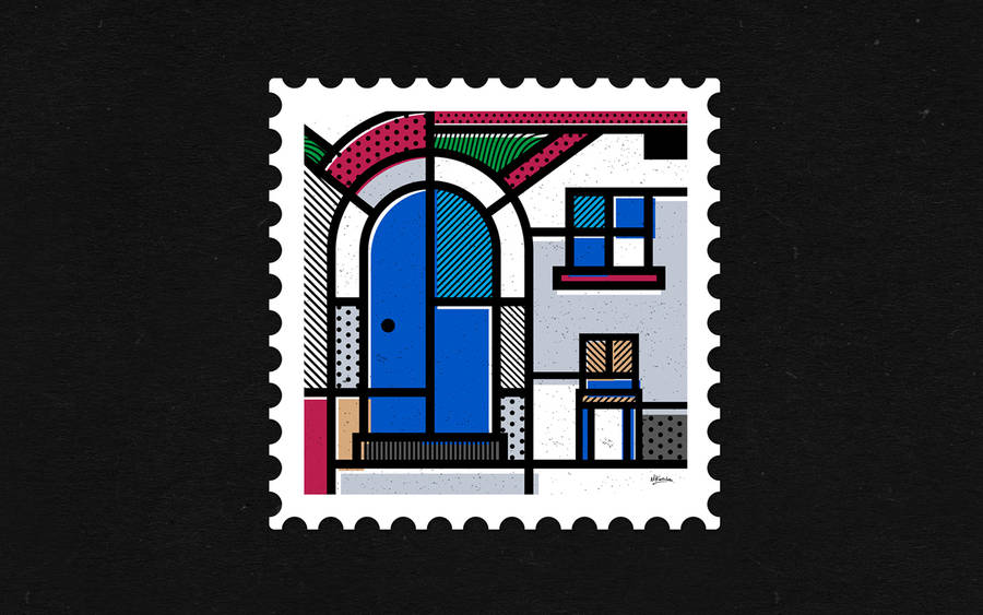 Tribute to Greece With a Graphic Abstract Stamps Collection