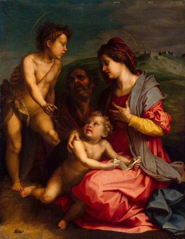 Андреа дель Сарто, Святое семейство с Иоанном Крестителем, 1529 г., дерево, масло, 129x100 см.