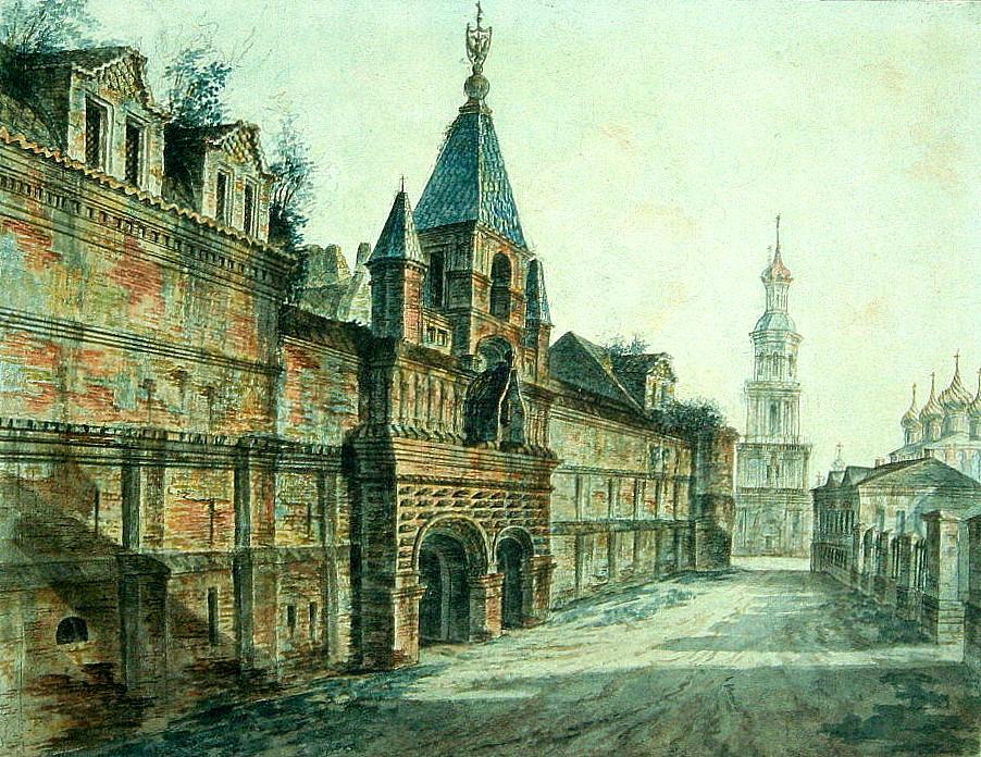 464044 Вид на Кадашевский Хамовный двор и колокольню церкви Космы и Дамиана.jpg