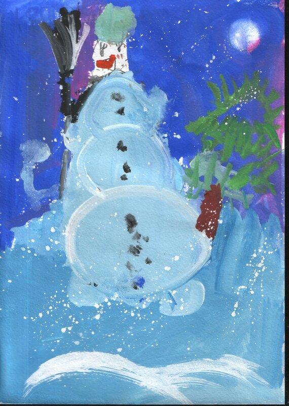 """Детский рисунок """"Снеговик"""""""