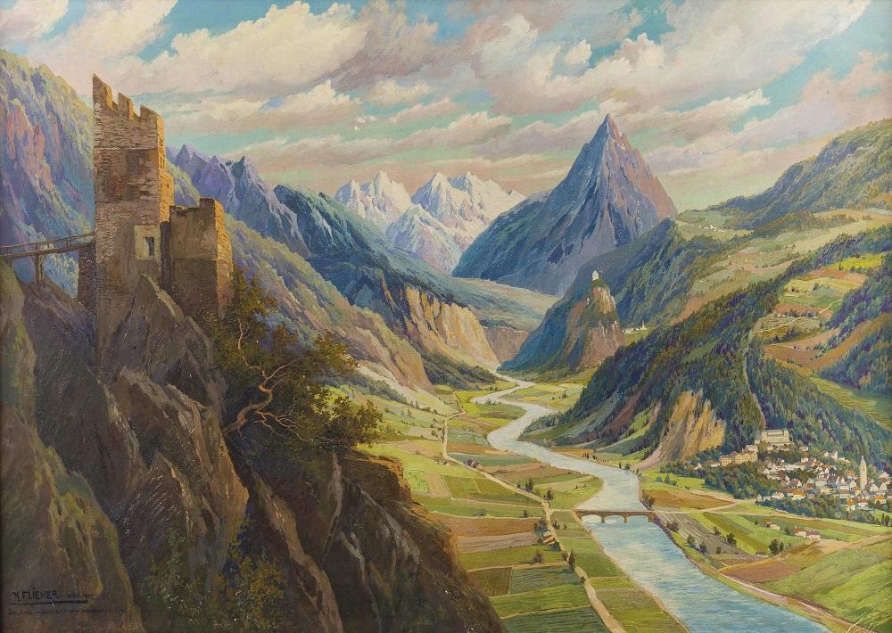 Blick vom Schroffenstein in das Obere Inntal, im Hintergrund die Mimingerkette, Ruine Kronburg und mit Ort Zams , 1927.