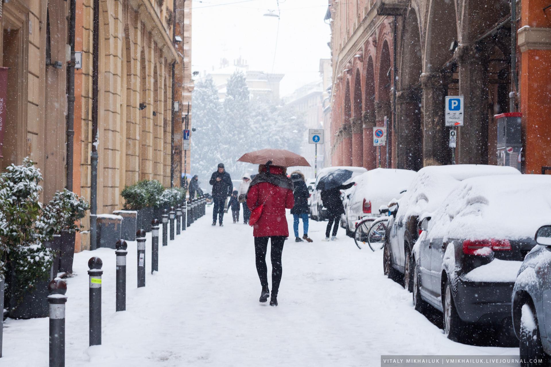 Болонья в снегу Болонье, город, здесь, Болонья, Флоренции, писал, возможность, Пленка, Остров, когда, будет, такая, такой, погода, очень, снега, главную, посте, который, городу
