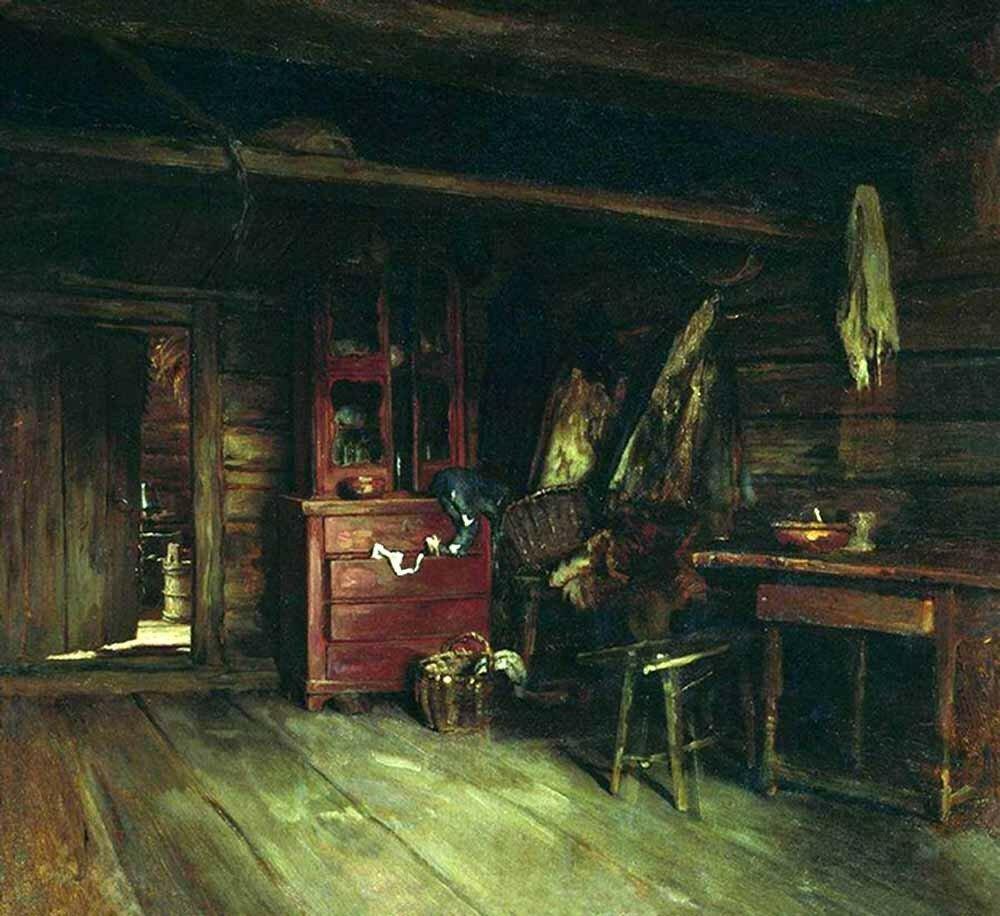 «Внутренний вид избы»<br /> 1869