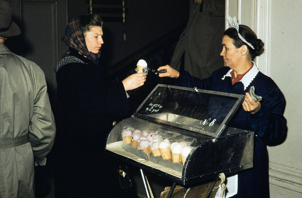 Russia, woman purchasing ice cream at stand in Moscow