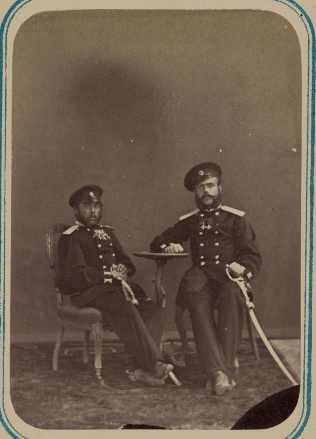 Георгиевские кавалеры, имеющие знаки отличия военного ордена. За дело под Кара-Тюбе 27–29 мая 1868 г. Прапорщики Вельцен и К. М. Куцей