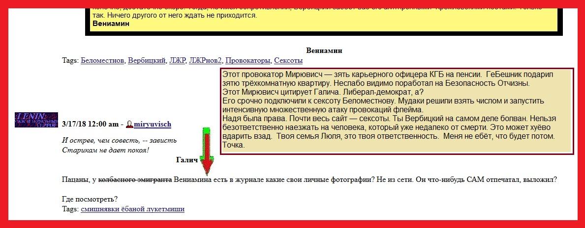 Мирювисч, провокация, клевета, Вербицкий