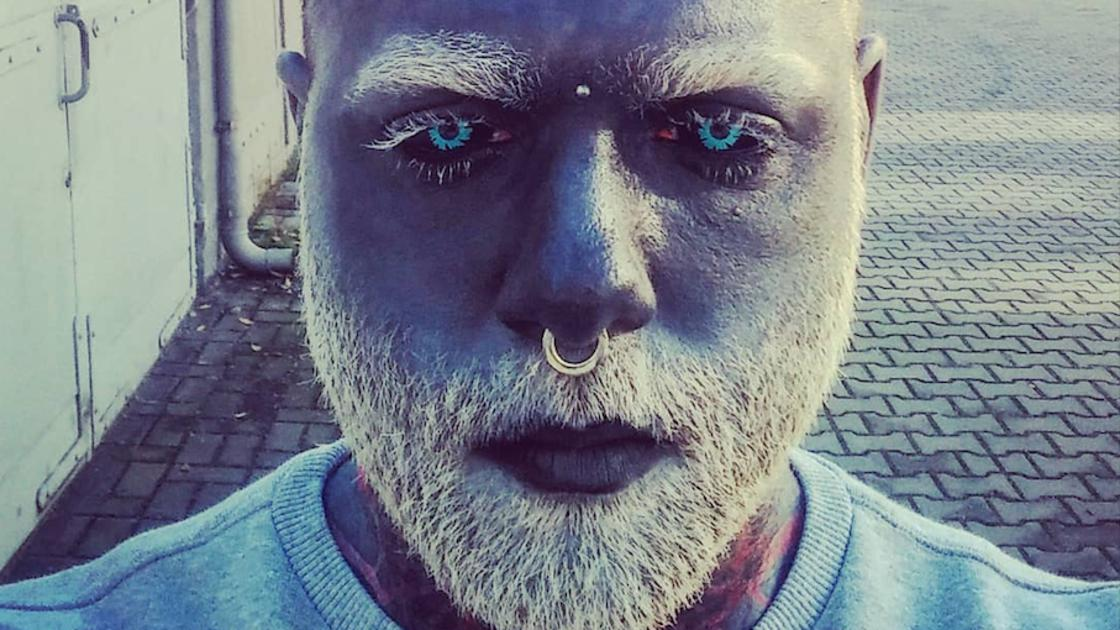 Fully tattooed, this young polish man is a real-life White Walker