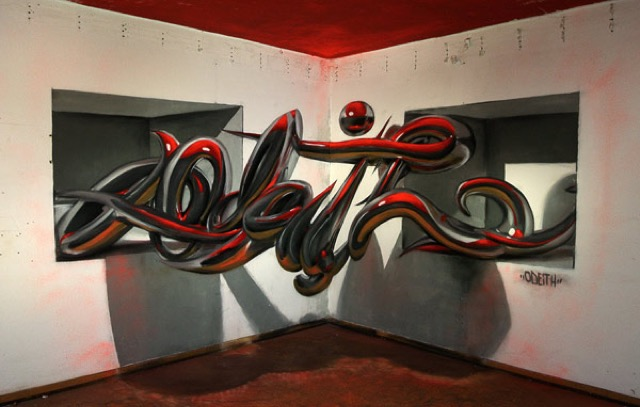 Anamorphic Graffiti Illusions by Odeith