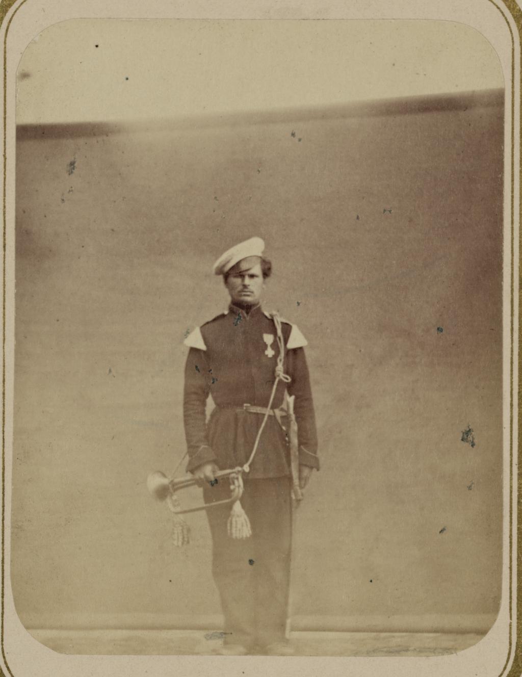 Георгиевские кавалеры, имеющие знаки отличия военного ордена. За взятие укрепления Джизак 18 октября 1866 г. Горнист Константинов, Оренбургское казачье войско