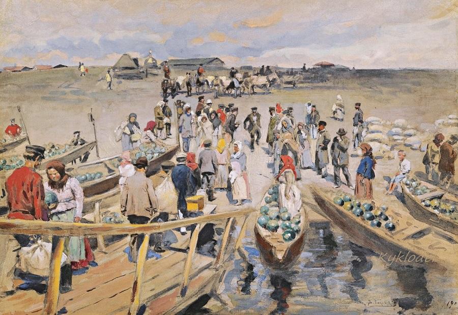 Торговцы арбузами на набережной 1902.