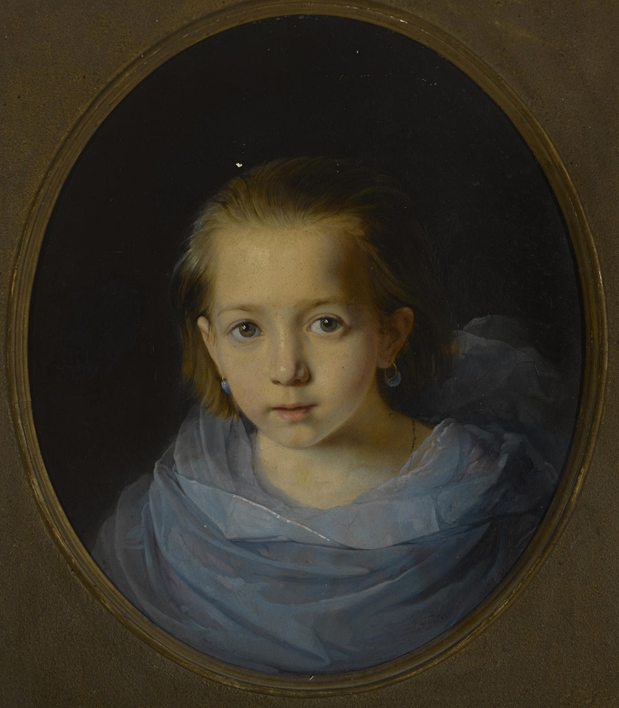 Portrait of a young girl in blue , 1858.