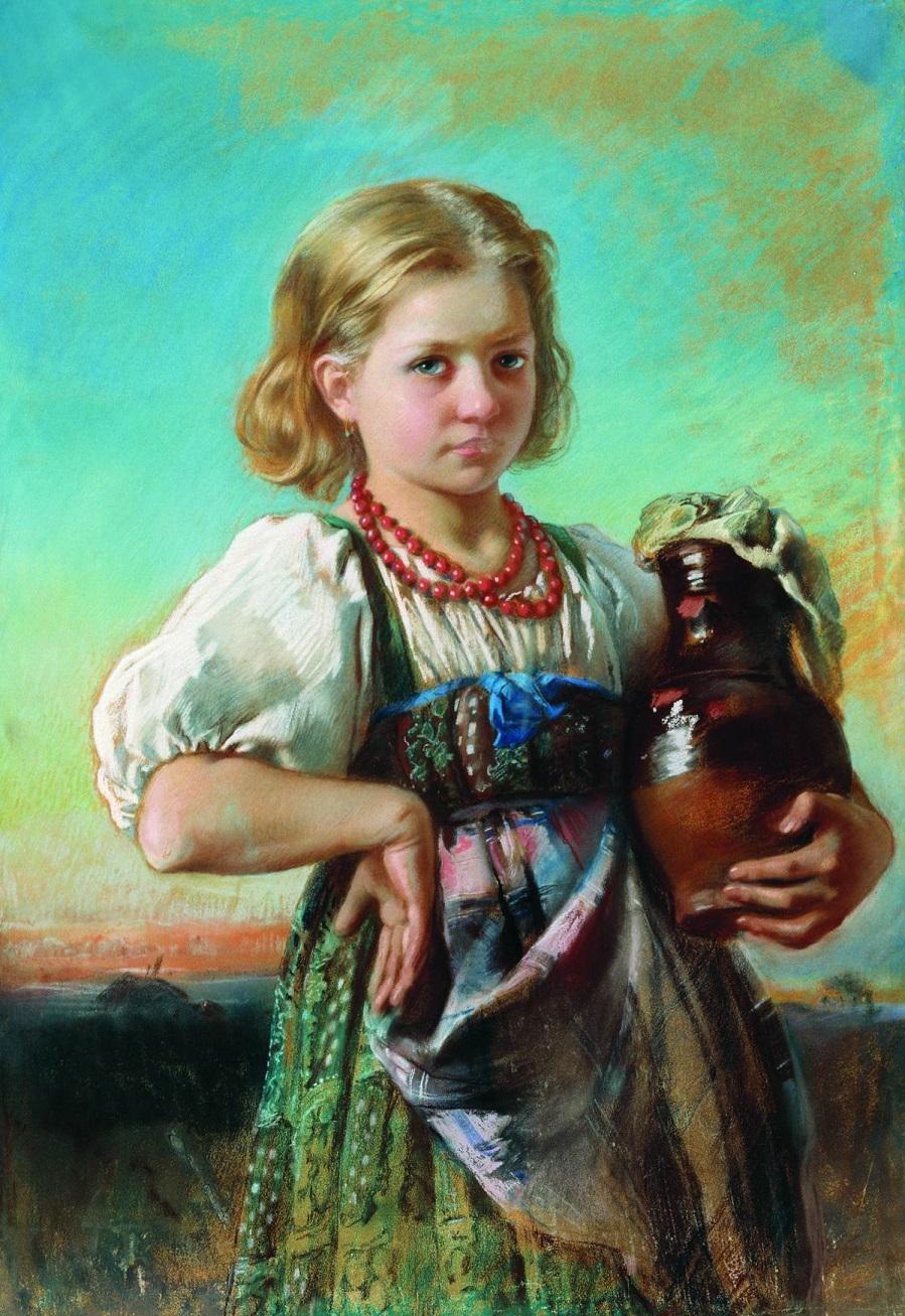 Девочка с кувшином. 1880-е Пензенская областная картинная галерея им. К.А. Савицкого.